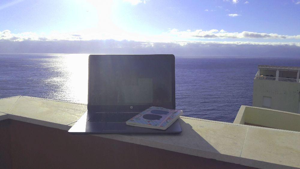 Ortsunabhängiges Arbeiten: Laptop auf der Dachterasse
