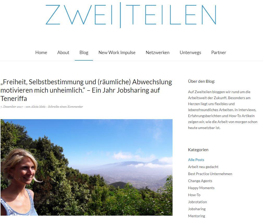 Zweiteilen: Eva Schubert auf Teneriffa stellt sich und AufderSonnenseite.de vor