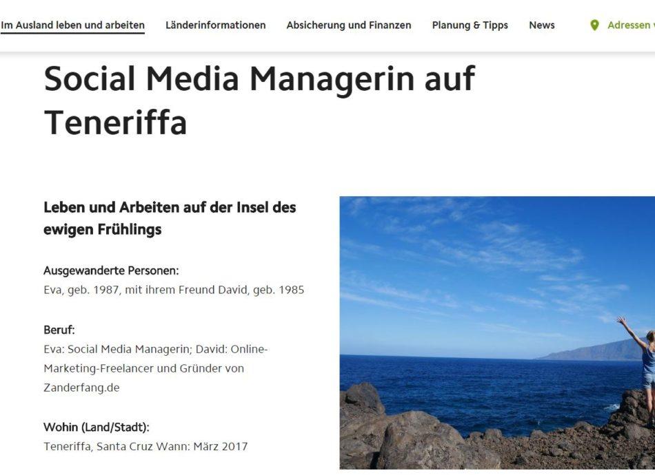 Gastbeitrag über das Leben und Arbeiten auf Teneriffa auf der Website vom Deutsche im Ausland e.V.